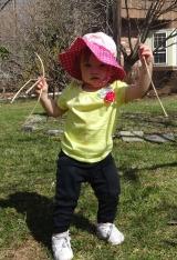 nora with sticks